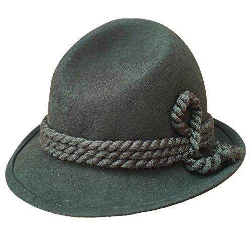 (Green Tyrolean Hat Oktoberfest Wool Felt Bavarian Alpine Chapeau Fedora Rope Hat (XL= 61cm (7 5/8)))