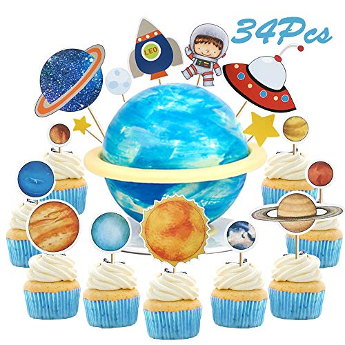 Sunsor 34Pcs Solar System Astronaut Space Shuttle UFO Rocket Star Planet Cupcake Topper Outer Space Themed Cake Decorative Toppers for Kids Birthday Party Favor -