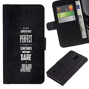 """Samsung Galaxy Note 4 IV / SM-N910 , la tarjeta de Crédito Slots PU Funda de cuero Monedero caso cubierta de piel ("""" Black Grey Dare Inspiring Message Perfect"""")"""
