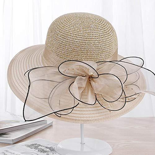 URNGLB Large Wide Brim Organza Flower Sun Ladies Kentucky Derby Wedding Party Dress Floppy Summer Hats for Women 4