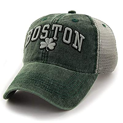 Chowdaheadz Boston Shamrock Cobblestone Mesh Trucker Green Hat