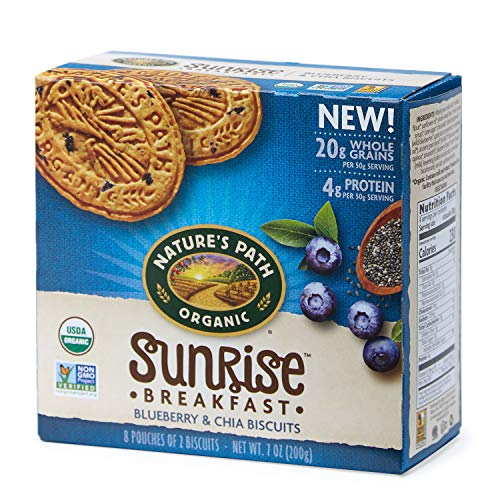 Nature's Path Organic Sunrise Breakfast Biscuits, Blueberry & Chia, 7 Ounce Box (6 Count) ()