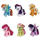 Ty My Little Pony Friendship Magic 6 Inch Beanie Babies Collection - Plush Doll 6 Pieces Doll Set (Rarity, Pinkie Pie, Applejack, Fluttershy, Rainbow Dash and Twilight Sparkle)
