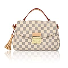 Specifications:Material:Pu leatherSize Chart reference:9 * 6 * 3 inchstyle:checkered shoulder bag for womenPackage Include:1*big pocket + 1*small pocketIf you have any questions about the top handle bag, please contact us by email and we will...