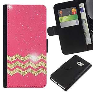 Samsung Galaxy S6 EDGE / SM-G925(NOT FOR S6!!!) Modelo colorido cuero carpeta tirón caso cubierta piel Holster Funda protección - Moroccan Pattern Golden Pink Glitter