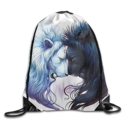 Artistic Black & White Lion Yin & Yang Unisex Home Gym Sack Bag Sport Drawstring Backpack Bag (Bag Yang)