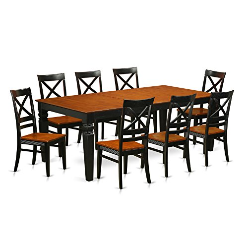East West Furniture LGQU9-BCH-W 9 Piece kitchen Table Set with One Logan Dining Table and 8 kitchen Chairs in Black & Cherry Finish