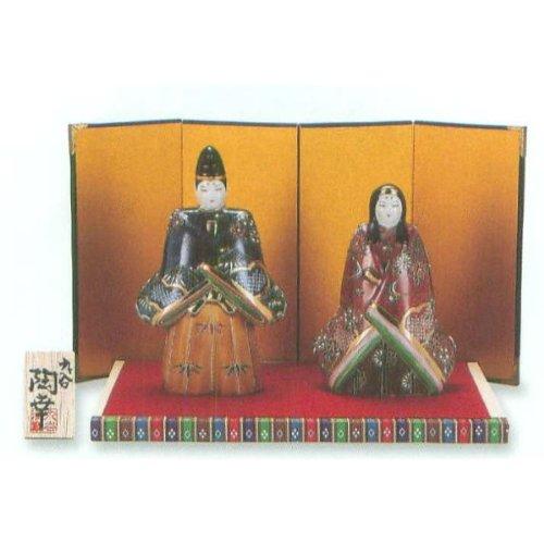 九谷焼 N79-08 立雛人形 6.5号 鹿の子盛 台敷物屏風木札付 7×15×25cm 化粧箱   B00DIN3A7G