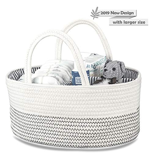 Baby Diaper Caddy Organizer Large Capacity Woven Cotton Rope Basket with Sturdy Handle and Divider Nursery Storage Bin for Diapers, Toys, Blankets, Milk Bottles (White with Black Stitching)