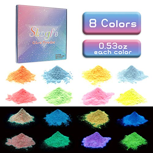 Skogfe Glow In The Dark Pigment Powder for slime Luminous powder,Safe Non-Toxic,8 Colors Available,4.16 ounces (0.53oz/color) For Slime Nails, Music Festivals,Resin,Concerts,Halloween