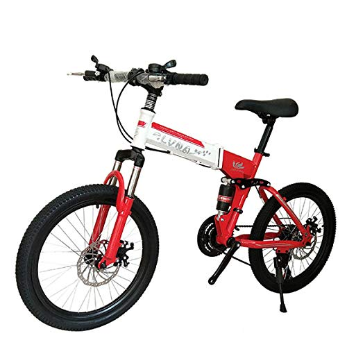 (PXQ Kid Shimano 21/24/27 Speed Mountain Bike Boys and Girls 20 Inches High Carbon Steel Folding Bicycle with Dual Disc Brake and Shock Absorber Front Fork,Red2,21S)
