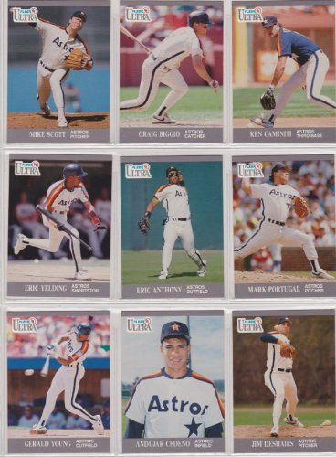 Houston Astros 1991 Fleer Ultra Baseball Team Set (Mike Scott) (Craig Biggio) (Ken Caminiti) (Eric Yelding) (Eric Anthony) (Mark Portugal) (Andujar Cedeno) (Jim Deshaies)