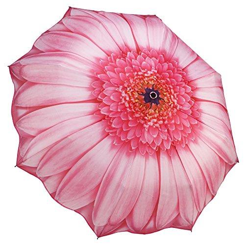 Galleria Folding Umbrella - Galleria Pink Daisy Auto-Open/Close Extra Large Portable Rain Folding Umbrella