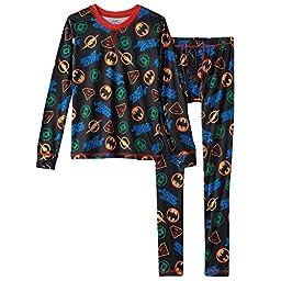 ClimateSmart Comfortech Poly 2-Piece Long Underwear Set Boys\' 4-18 Justice League (Large (12-14), Black Multi)