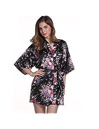 Women's Kimono Robes Blossoms Floral Pattern Satin Nightwear Nightgown Short Style