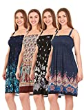 Unique Styles Sundresses for Women Beach Floral Casual Flowy Maxi Summer Dresses (Medium, 4PK-Combo 16)