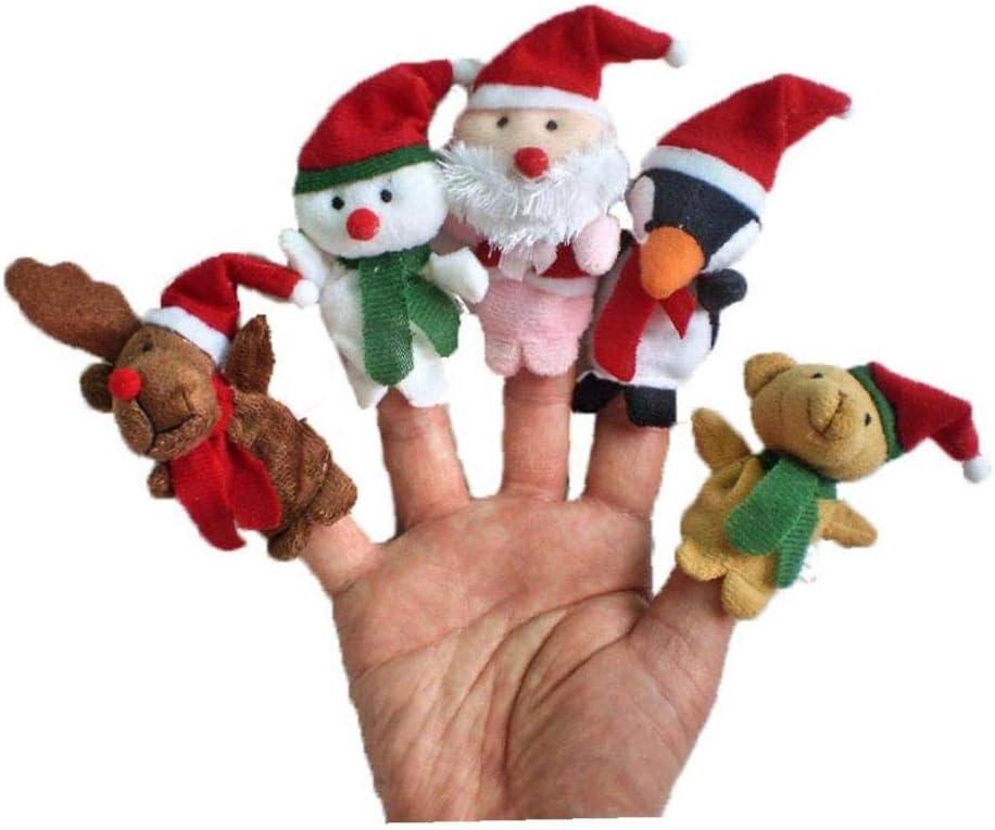 xuew 5pcs de Navidad Car/ácter tem/ático Finger Puppets narraci/ón de Cuentos Suaves del pa/ño de los Animales de la mu/ñeca de la Mano Juguetes de Peluche Juguetes para beb/é Kid