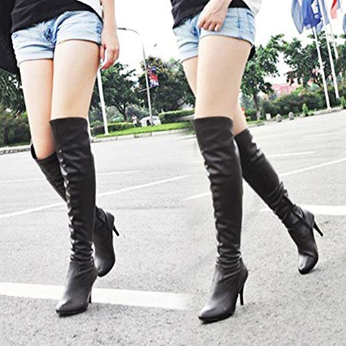 Cuero Tacón Rodillas Negro Mujeres Alto Botas B Zapatos Invierno Montar Hasta Largas Las Boots Cremallera Aguja Minetom De Pu Moda p8wxfgxq