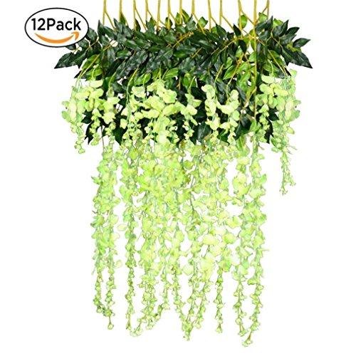 12 Pack One Set Artificial Wisteria Vine Silk Hanging Flower Wedding Festival Decor - White Green L