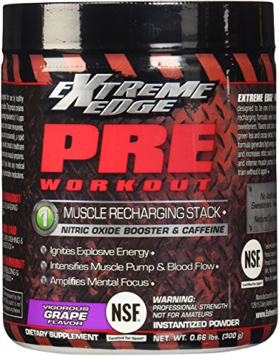 BlueBonnet Extreme Edge Pre Workout Powder, Vigorous Grape, 0.66 Pound