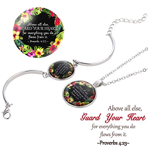 Tuoke Bible Verse Necklace Bracelet Jewelry Sets Faith Christian Religious Inspirational Bangle Bracelet Necklace Handmade Silver Plated Jewelry Gifts for Women ()