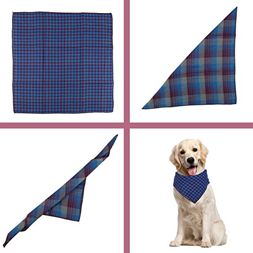 Dog-Bandanas-set-of-2-Reversible-Plaid-Printing-Kerchief-for-Small-to-Large-Dogs-Cats-Pets