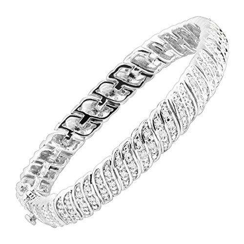 1/4 ct Diamond 'S' Link Tennis Bracelet in Sterling Silver-Plated Brass ()