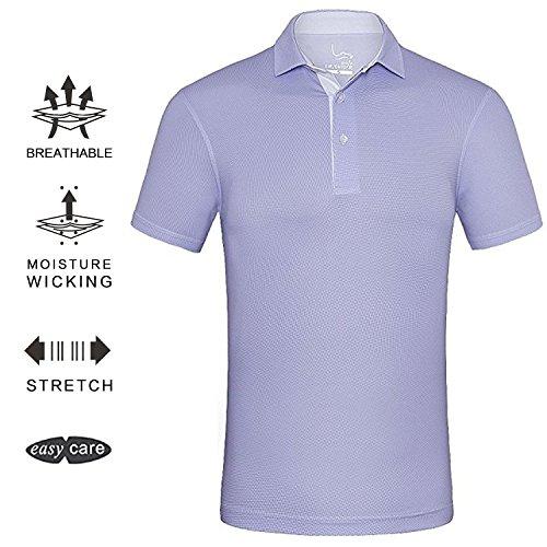 EAGEGOF Men's Shirts Light Purple Short Sleeve Tech Performance Golf Polo Shirt Loose Fit 2X-Large Purple Loose Fit Shorts