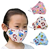 ZWZCYZ 3Pcs Kids Cartoon Cars Cotton Mask Children's PM2.5 Guaze Mask Dustproof Face Mask with N95 Filters (Pink Sheep+Monkey+Blue Car)