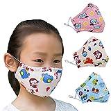 ZWZCYZ 3Pcs Kids Cartoon Cars Cotton Mask Children's PM2.5 Guaze Mask Dustproof Face Mask with N95 Filters (Pink Sheep+Monkey+Blue Car)