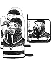 Beautiful White Swans On The Lake Print Oven Mitts and Pot Holders Sets,Kitchen Oven Glove High Heat Resistant 500 Degree Oven Mitts and Potholder,Surface Safe for Baking, Cooking, BBQ,Pack of 3
