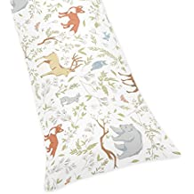 Sweet Jojo Designs Blue, Grey and White Woodland Deer Fox Bear Animal Toile Collection Full Length Double Zippered Body Pillow Case Cover