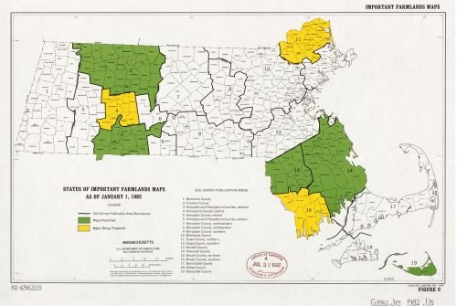 1982 Map Status of important farmlands maps as of January 1, 1982 : Massachusetts - Size: 16x24 - - Status Goggles On