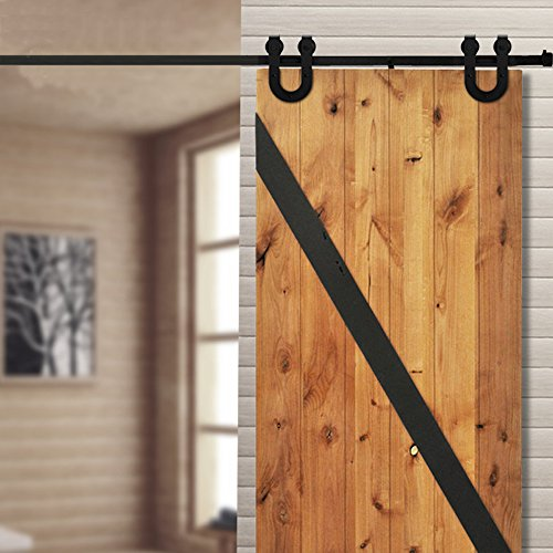 WINSOON 8FT Single Vintage Sliding Barn Wood Door Hardware Track Roller Kit Horseshoe Style Black