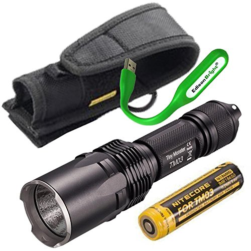 Nitecore TM03 2800 Lumen CREE LED Tiny Monster Flashlight/Searchlight, 18650 rechargeabe battery with EdisonBright USB reading light bundle by EdisonBright
