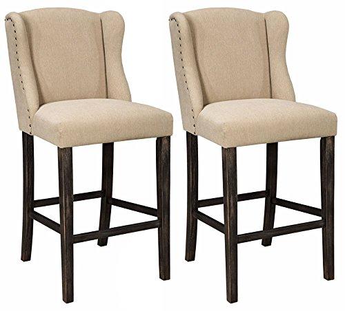 Ashley Furniture Signature Design - Moriann Barstool Set - Pub Height - Vintage Casual - Set of 2 - Light Beige (Store Signature Furniture)