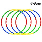 Sports Hula Hoop for Kids Adults, 4 Pack 32 Inch Colorful Weighted Fitness Hula Hoola Hoops with 8 Section Detachable for Playing Exercise Dance Fitness and Party Favors