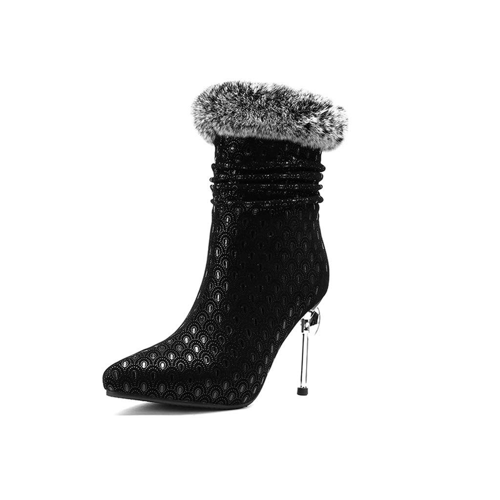 Lederschuhe 2018 Winter Modelle Europäischen Stand Stiefel Sexy Mode Stiletto Spitzen High Heel Winter Schuhe Schwarz (Farbe   SCHWARZ, größe   33)