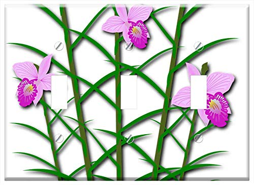 Switch Plate Triple Toggle - Clip Art Flor Flora Flower Nature Orchid - Orchid Clipart