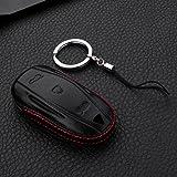 [M.JVisun] Leather Key Fob Case For Men Women Genuine Leather Key Fob Cover For Tesla Model S Key - Car Remote Key Pouch Bag With Key Ring Key Chain Keychain Holder - Black - Tesla Model S