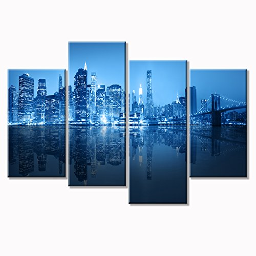 Blue Cool Buildings In Dark Color In Chicago Modern Stretched Framed Giclee Canvas Prints Artwork on Canvas Wall Art for Living Room Home Decorations