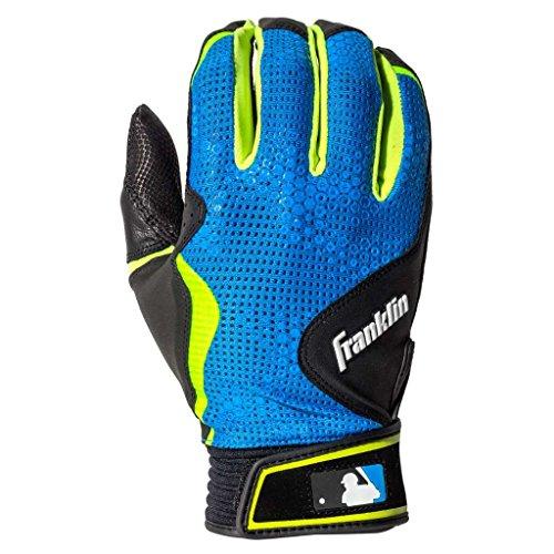 (Franklin Sports MLB Freeflex Series Batting Gloves, Black/Electric Blue Adult)