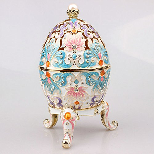 znewlook Faberge Egg Box Platinum Colored Clear Crystals with Stand Figurine Trinket Pill Jewelry Box