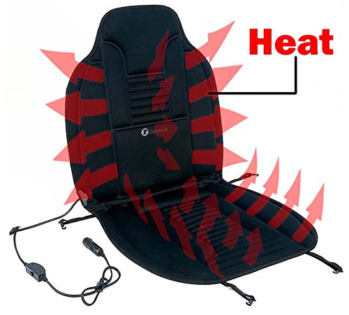 Zone Tech Heated Car Seat Cushion - Black 12V Heating Warmer Pad Hot Cover Perfect for Cold Weather and Winter Driving - Obus Forme Homedics