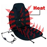 Zone Tech Heated Car Seat Cushion - Black 12V Heating Warmer Pad Hot Cover Perfect for Cold Weather and Winter Driving