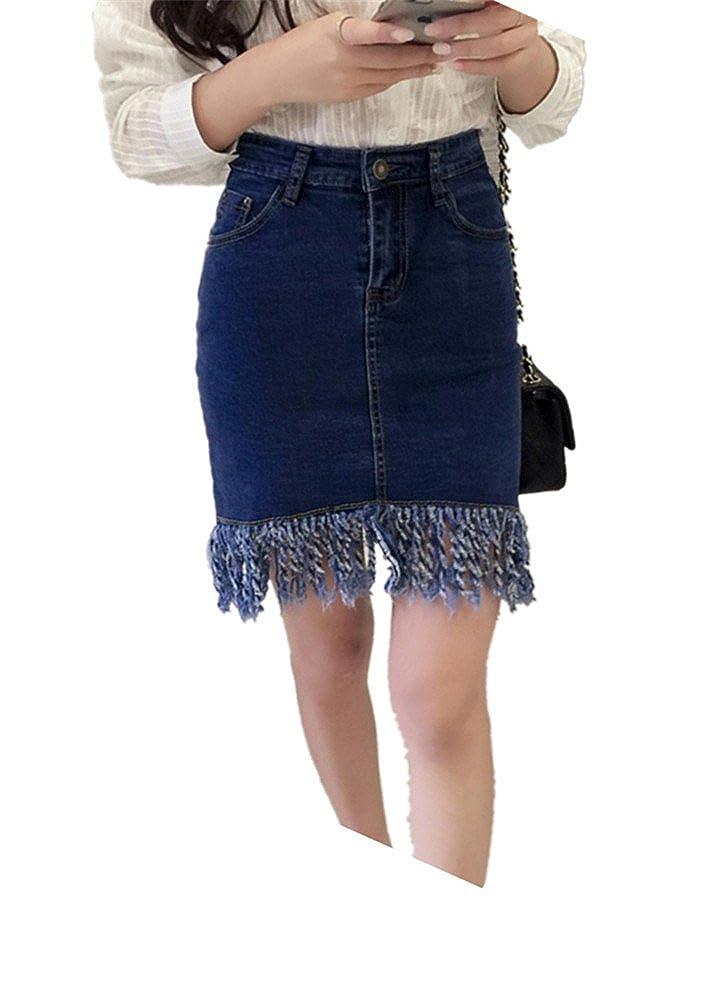 Enlishop Womens Tassel Workwear Bodycon Midi Denim Pencil Flare Skirt Blue