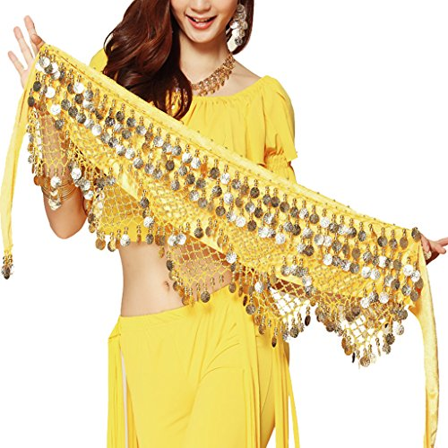 Pilot-tradeWomen's Sweet Bellydance Hip Scarf With Gold Coins Skirts Wrap Noisy Yellow