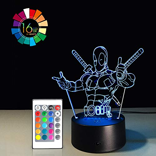 Night Light for Kids Birthday Gift 3D Illusion Super Hero Lamp LED Desk Gifts Smart Touch & Remote Control Bedroom Nursery Light 16 Color Display (Deadpool VER1)(1PC) ()