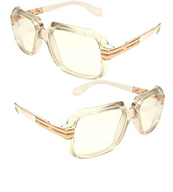 35dd69e4bf62 Image Unavailable. Image not available for. Color  Clear frame Clear Lens  Cazal Gazelle Style Sun Glasses with Metal Accent Run Dmc