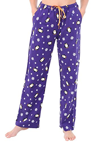 Alexander Del Rossa Womens Flannel Pajama Pants, Long Cotton Pj Bottoms, Large Penguins and Snowflakes (A0703R77LG)